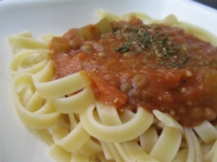 Fettuccine and Lentil Sauce